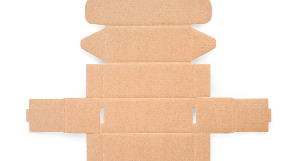 Blank cardboard box cutting. Texture and template. Isolated on white, clipping path included